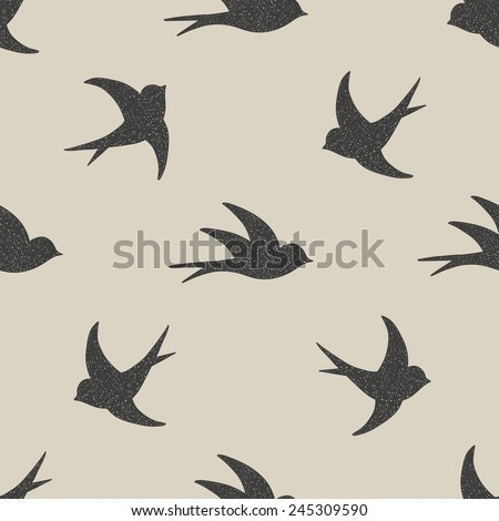 Silhouette style flying swallows seamless pattern - stock vector