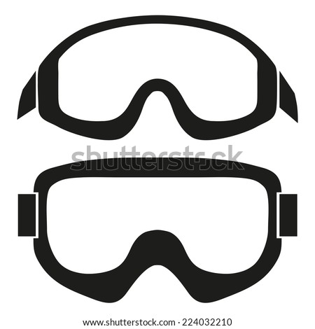 Silhouette symbol of Classic snowboard ski goggles. Simple Vector isolated on white background - stock vector