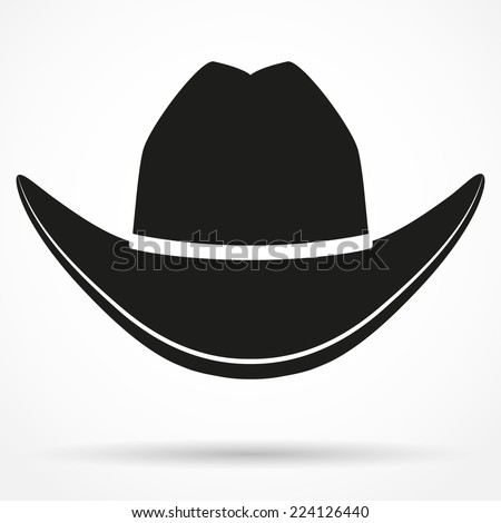 Silhouette symbol of cowboy hat traditional symbol. Simple Vector Illustration Isolated on white background. - stock vector
