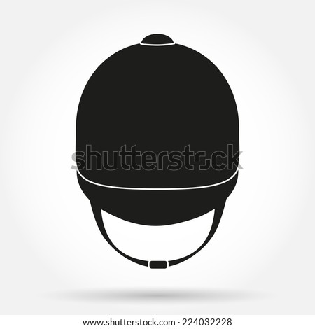Silhouette symbol of  Jockey helmet for horseriding athlete. Simple Vector Illustration isolated on white background. - stock vector