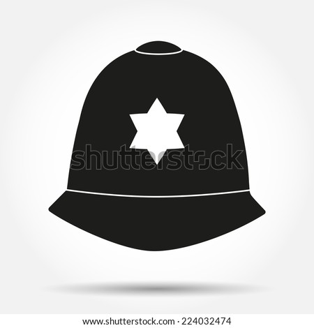 Silhouette symbol of traditional authentic helmet of metropolitan British police officers. Simple Vector illustration. - stock vector