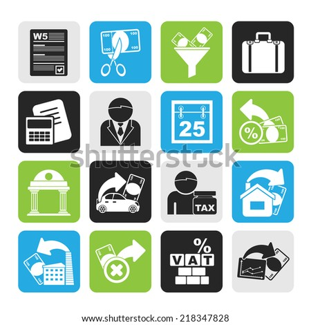 Silhouette Taxes, business and finance icons - vector icon set - stock vector