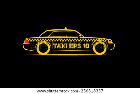 silhouette taxi side view