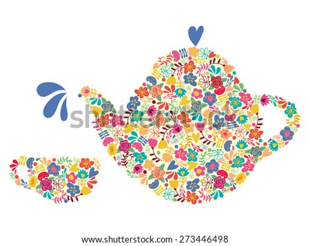 Silhouette teapot and cups of floral pattern. Background for your design. Vector illustration. - stock vector