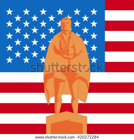 Silhouette third place on the podium with flag United States of America - stock vector