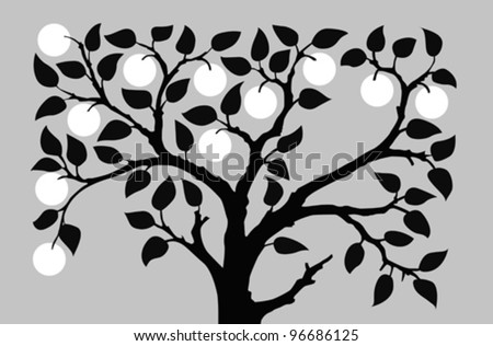 silhouette to aple trees on gray background, vector illustration - stock vector