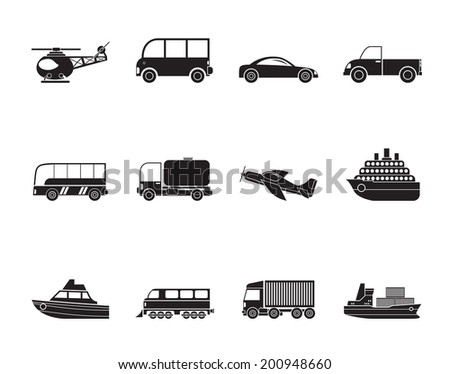 Silhouette Travel and transportation icons - vector icon set - stock vector