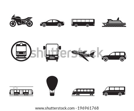 Silhouette Travel and transportation of people icons - vector icon set - stock vector
