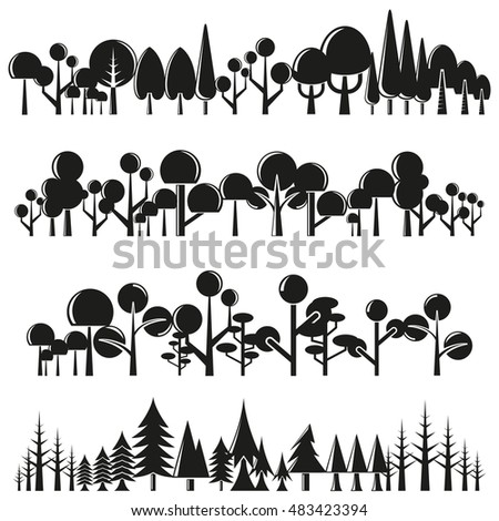 silhouette tree and plant set, forest set