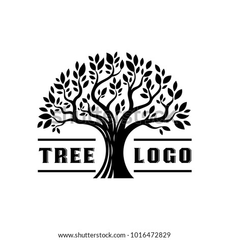 Silhouette Tree Logo Vintage Illustration