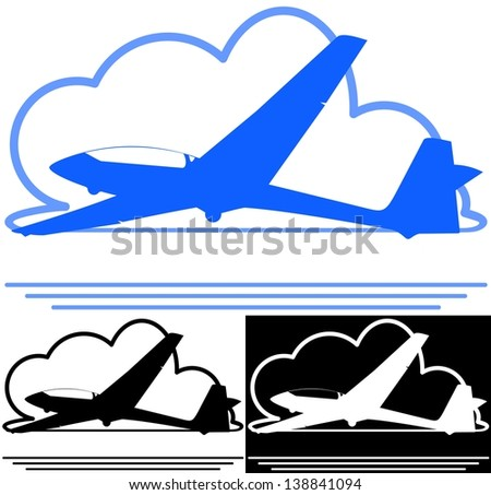 Silhouette vector illustration of a glider airplane against a cloud - stock vector