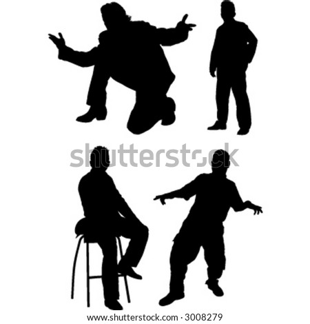 Silhouette vector of a man in full figure.