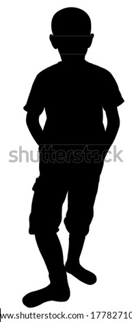 silhouette vector of a poor child - stock vector