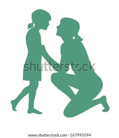 Silhouette Vector Of Mother Kneeling Talking To Daughter On First Day Of School - stock vector