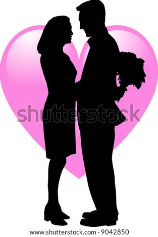 Silhouette Vector of 2 people in Love