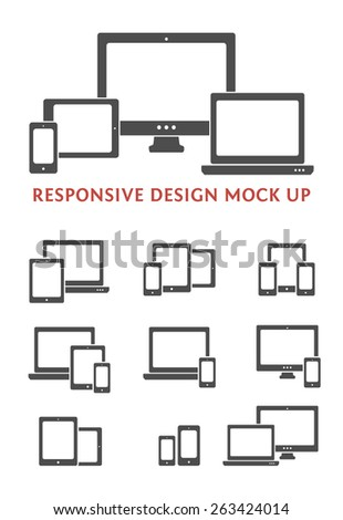 Silhouette vector responsive web design kit. Smartphone, desktop computer, laptop and tablet PC icons and combinations.  - stock vector