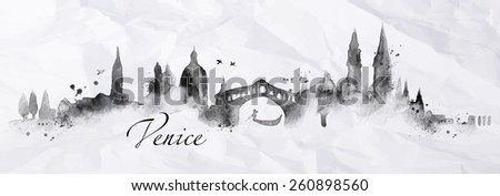 Silhouette Venice city painted with splashes of ink drops streaks landmarks drawing in black ink on crumpled paper - stock vector
