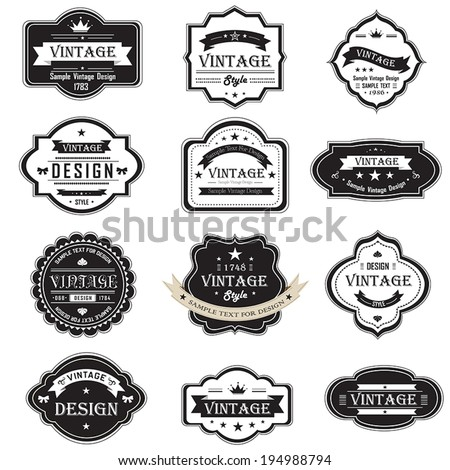 Silhouette vintage and retro badges label tag design for quality product brand promotion and marketing with sample text, create by vector