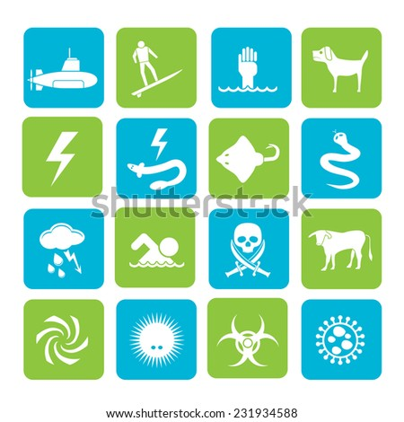 Silhouette Warning Signs for dangers in sea, ocean, beach and rivers - vector icon set 2 - stock vector