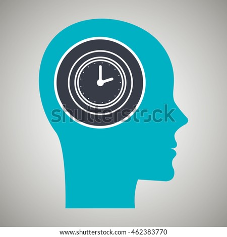 silhouette watch time blue desing vector illustration