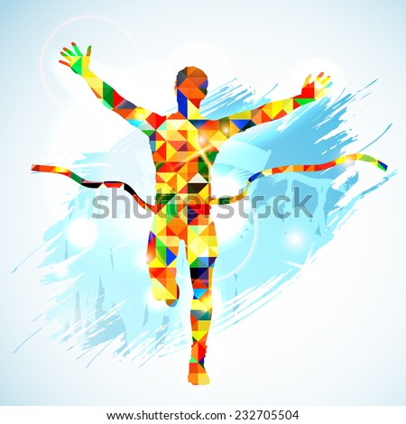 Silhouette Winner Man and Fans in Mosaic Pattern on Grunge Background. Vector illustration. - stock vector