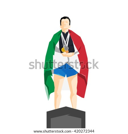 Silhouette winner on the podium with flag Italy - stock vector