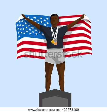 Silhouette winner on the podium with flag United States of America - stock vector