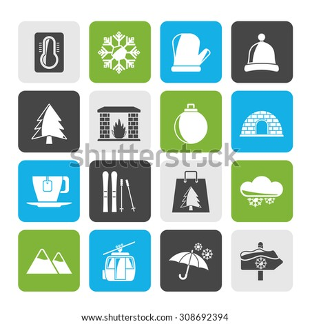 Silhouette Winter, Sport and relax icons - vector icon set - stock vector