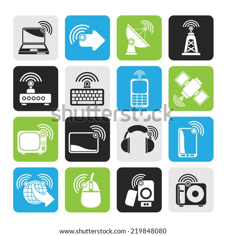 Silhouette wireless and technology icons - vector icon set - stock vector