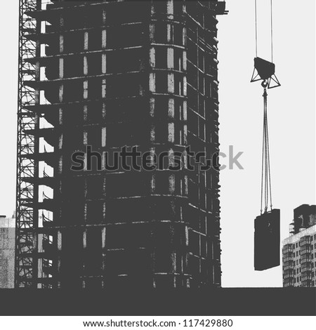 Silhouette with a crane and construction of a modern high-rise building. Modern urban buildings. vector illustration - stock vector