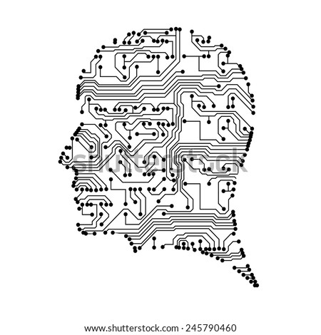Silhouette with circuit board texture. EPS10 vector