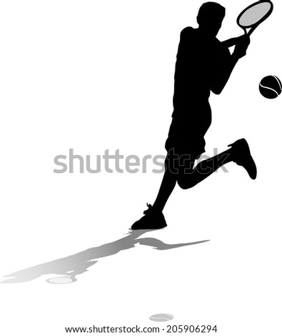 Silhouette with ground shadow of a male tennis player returning a server - stock vector