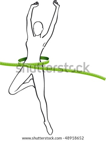 Silhouette Woman with Green Metre