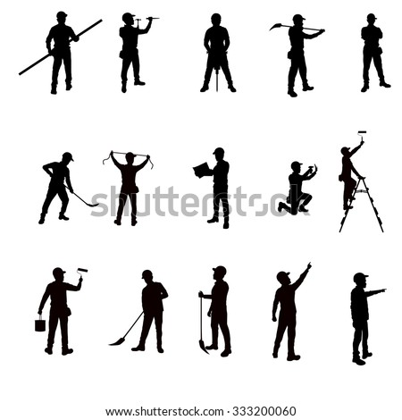 Silhouette workers and tools isolated background. vector