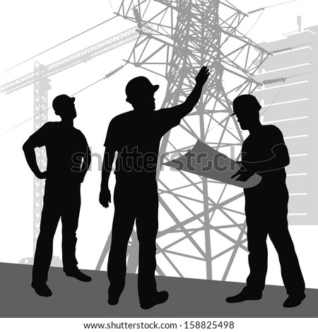 silhouette  workers on  background of construction  - stock vector