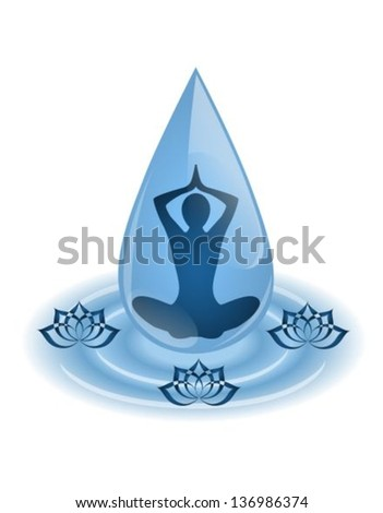 silhouette yoga sitting inside the droplet surrounded by lotus flowers - stock vector
