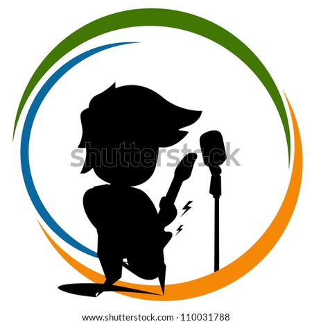 silhouette young boy - stock vector