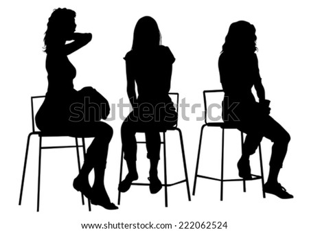 Silhouette young girls on white background - stock vector