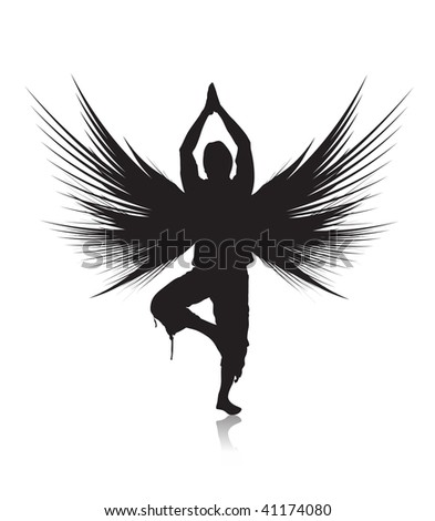 silhouette young man doing yoga exercise with white background ,vector illustration