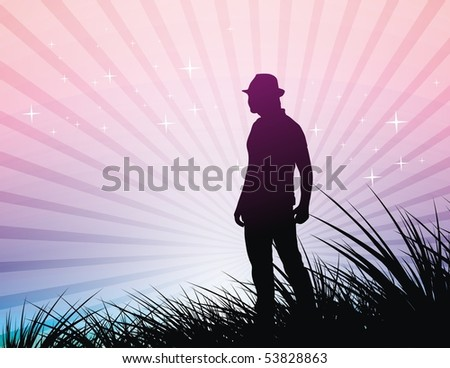 silhouetted a young cowboy against a bright and colorful sunset sky, vector illustration - stock vector