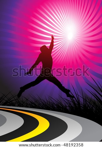 silhouetted a young happy men, jumping on the road and, vector illustration