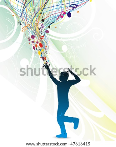 silhouetted a young man enjoy music in floral wave background, vector illustration. No mesh in this Vector - stock vector