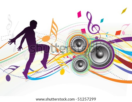 silhouetted a young man enjoy music in swirl wave background, vector illustration. No mesh in this Vector - stock vector