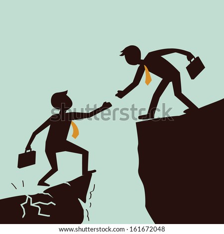 Silhouetted bussiness man giving hand to help each other from failed situation, representing to help across abyss.  - stock vector