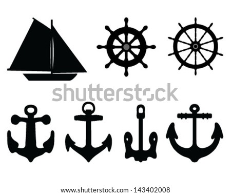 Silhouettes anchors, rudders and sailboat-vector - stock vector