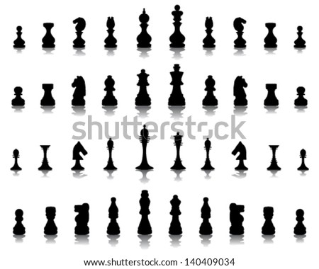 Silhouettes and shadows of chess pieces-vector