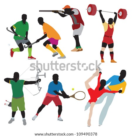 Silhouettes athlete - stock vector