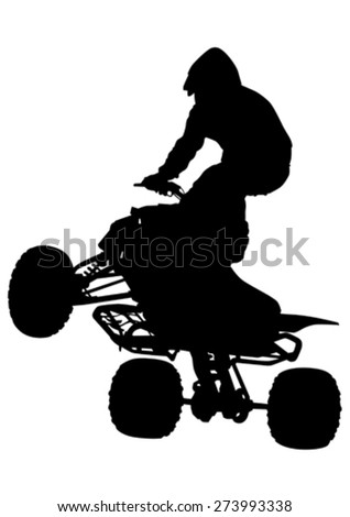 Silhouettes athletes ATV during races on white background - stock vector