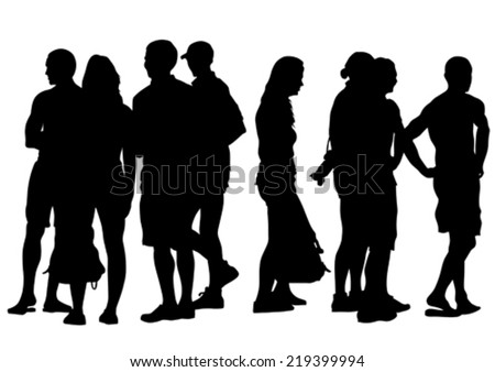Silhouettes big crowds people on street - stock vector