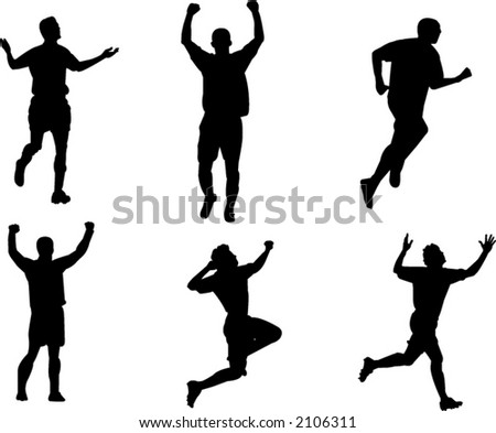 silhouettes celebrating scoring goal in soccer match - stock vector